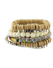 Beige Stretch Colorful Beads Bracelet
