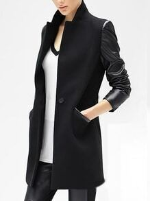 Black Stand Collar Pockets Slit Back Long Blazer