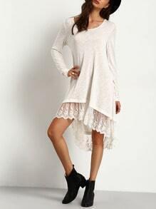 White Lace Hem High Low Dress
