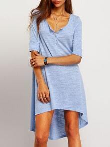 Blue Scoop Neck High Low Dress