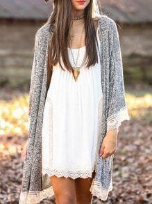 Grey Collarless Contrast Lace Hem Kimono