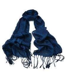 Blue Long Tassel Scarf