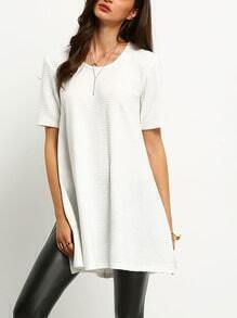 White Ribbed Side Slit T-Shirt