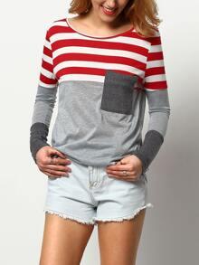 Red Grey Round Neck Striped Pocket T-Shirt