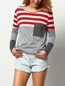 Red Grey Round Neck Striped Pocket T-Shirt