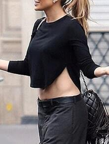 Black Long Sleeve Split Crop T-Shirt