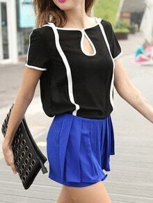 Black Short Sleeve Contrast Trims Blouse