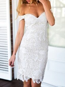 White Short Sleeve Off The Shoulder Lace Dress