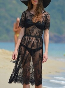 Black Short Sleeve Lace Beach Dress