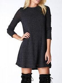 Dark Grey Crew Neck Casual Sweater Dress