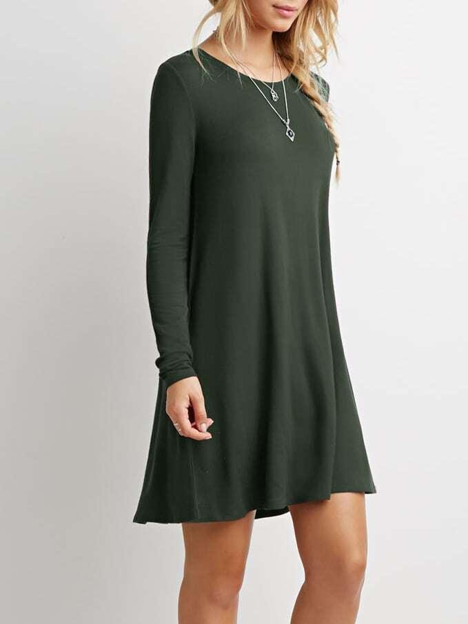 Dark Green Long Sleeve Designer Casual Dress EmmaCloth-Women Fast ...