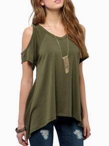 Green Open Shoulder Asymmetrical Hem T-Shirt