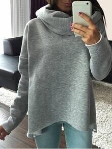 Grey Cowl Neck Long Sleeve Loose Sweatshirt
