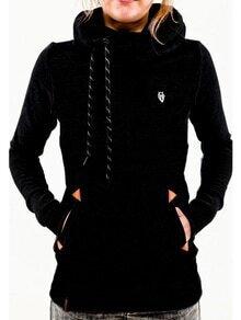 Black Hooded Long Sleeve Pockets Sweatshirt