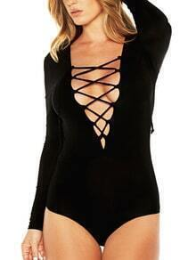 Black Deep V Neck Lace Up Bodysuit