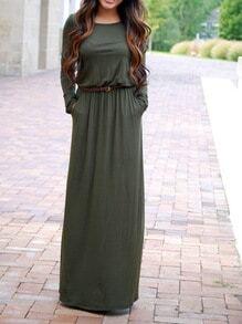 Army Green Long Sleeve Pockets Maxi Dress