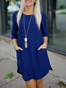 Blue Twin Pocket Half Sleeve Dress