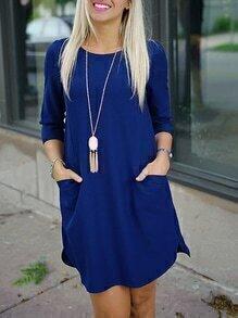Blue Twin Pocket Half Sleeve Dress