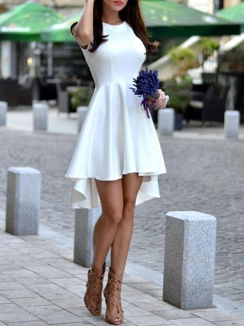 White sleeveless asymmetric hem flare dress emmacloth for Naked ir