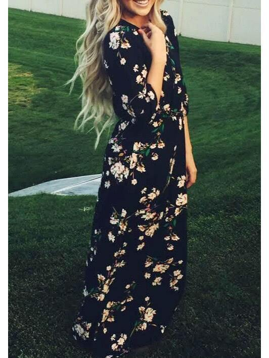 Navy Long Sleeve Floral Maxi Dress EmmaCloth-Women Fast Fashion Online