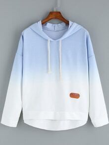 Blue Ombre Hooded Dip Hem Sweatshirt