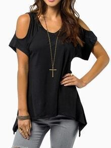Black Open Shoulder Asymmetrical Hem T-Shirt