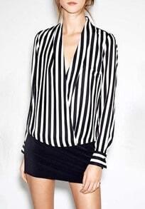 Bluse V-Ausschnitt mit Vertikal Streifen, schwarz-weiß