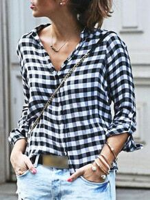 Long Sleeve Black And White Plaid Blouse