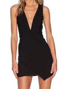 Black Deep V Neck Zipper Bodycon Dress