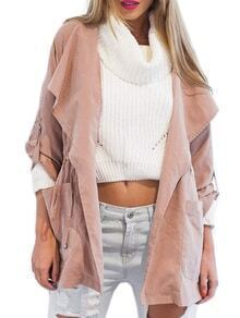 Pink Hooded Drawstring Pockets Coat