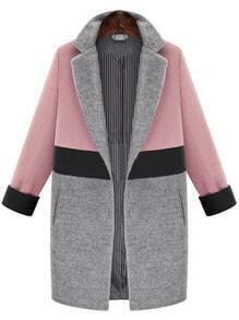 Pink Grey Lapel Pockets Woolen Coat