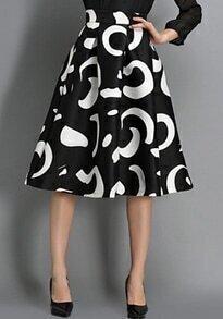 Black High Waist Floral Midi Skirt