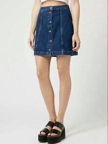 Blue Single-breasted A-Line Denim Skirt