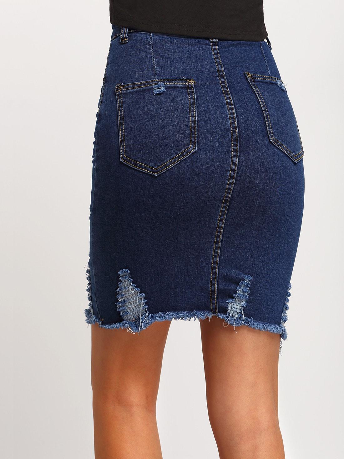 Navy Ripped Split Denim Skirt EmmaCloth-Women Fast Fashion Online