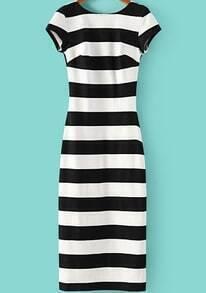 Black White Striped Short Sleeve Backless Dress