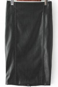Black Bodycon Split Leather Skirt