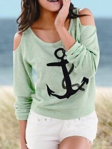 Green Cold Shoulder Anchors Print T-Shirt
