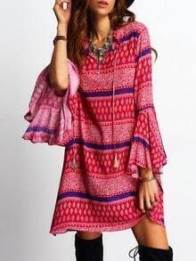 Bell Sleeve Tassel Vintage Print Dress