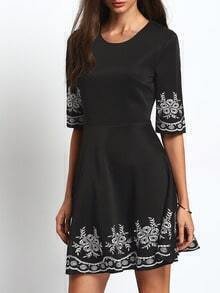 Black Half Sleeve Embroidered Flare Dress