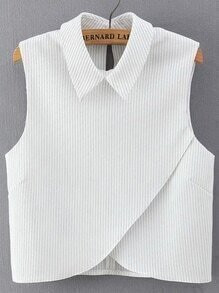 Vertical Striped Wrap White Shirt