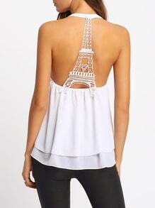 White Backless Lace Chiffon Tank Top