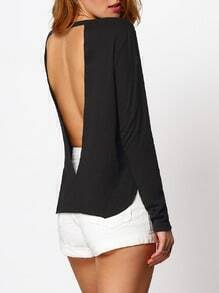 Black Split Side Cut Out Backless Blouse