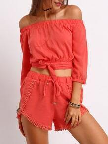Red Boat Neck Crop Top With Drawstring Shotrs