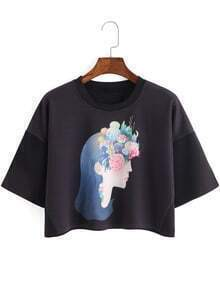 Beauty Print Crop Black T-shirt