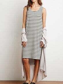 Black White Sleeveless Striped Asymmetrical Dress