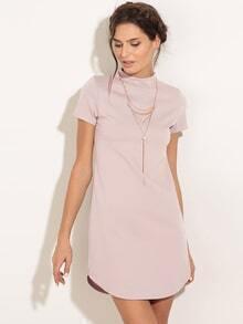 Light Pink Mock Neck Dolphin Hem Shift Dress
