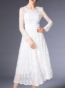 White Sheer Gauze Embroidered Midi Dress