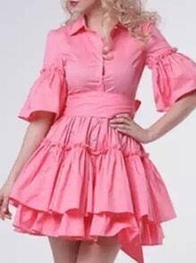Pink Lapel Bell Sleeve Flounce Dress
