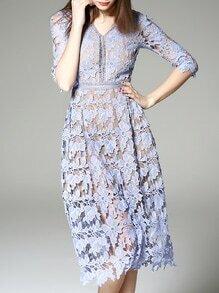 Purple V Neck Backless Crochet Hollow Out Dress