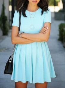 Blue Crew Neck Pleated Dress
